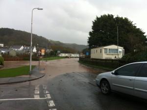 Main road, Pendine flood, November 2012