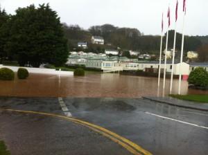 Flooding at Pendine caravan site, November 2012