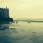 05 Feb 2014 Flooding in front of Laugharne Castle